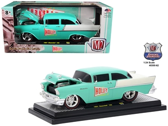 "1957 Chevrolet 150 ""Holley"" Sea Foam Green and India Ivory 1/24 Diecast Model Car by M2 Machines, M2 Item Number 40300-62B"