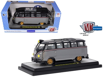 1959 Volkswagen Microbus Deluxe U.S.A. Model Gray Metallic with Gloss Black Top Limited Edition to 5,800 pieces Worldwide 1/24 Diecast Model by M2 Machines, M2 Item Number 40300-67A