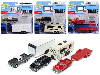 """Truck and Trailer"" Series 2 Set A of 3 Trucks ""Chevy Truck 100th Anniversary"" 1/64 Diecast Model Cars by Johnny Lightning, Johnny Lightning Item Number JLBT007A-SET"