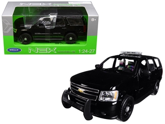 2008 Chevrolet Tahoe Unmarked Police Version Black 1/24 - 1/27 Diecast Model Car by Welly, Welly Item Number 22509WEP-BK