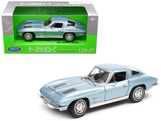 1963 Chevrolet Corvette Metallic Light Blue 1/24 - 1/27 Diecast Model Car by Welly, Welly Item Number 24073BL