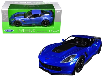 2017 Chevrolet Corvette Z06 Blue 1/24 - 1/27 Diecast Model Car by Welly, Welly Item Number 24085BL