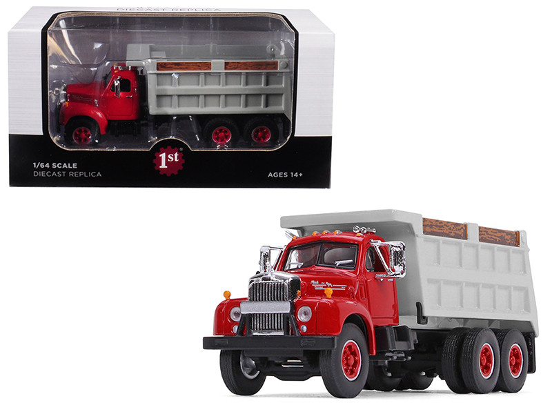 Mack B-61 Tandem Axle Dump Truck Red Cab/ Gray Body 1/64 Diecast Model by First Gear, First Gear Item Number 60-0401