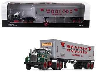 "Mack B-61 Day Cab Green with 40 Vintage Trailer ""Wooster Express Inc."" 15th in a ""Fallen Flag Series"" 1/64 Diecast Model by First Gear, First Gear Item Number 60-0410"