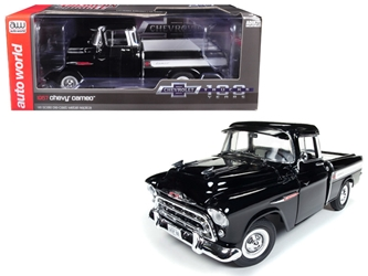 1957 Chevrolet Cameo 3124 Pickup Truck Onyx Black 100th Anniversary Limited Edition to 1002 pieces Worldwide 1/18 Diecast Model Car by Autoworld, Autoworld Item Number AMM1145