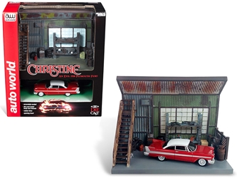 "1958 Plymouth Fury Red with ""Darnells Garage"" Scenic Display Diorama from ""Christine"" (1983) Movie 1/64 Diecast Model by Autoworld, Autoworld Item Number AWSD001"