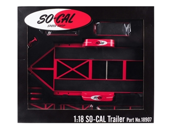 "Tandem Car Trailer with Tire Rack ""So-Cal Speed Shop"" Red Limited Edition to 996 pieces Worldwide 1/18 Diecast Model by GMP, GMP Item Number 18907"