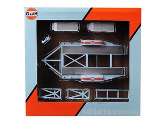 "Tandem Car Trailer with Tire Rack ""Gulf Oil"" for 1:43 Scale Model Cars by GMP, GMP, Item Number 14304"