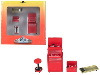 Tire Brigade 4 piece Tool Set Red 1:24, Motorhead Miniatures, Item Number MH191