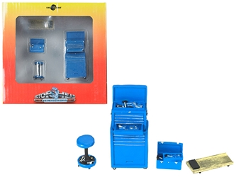 Tire Brigade 4 piece Tool Set Blue 1:24, Motorhead Miniatures, Item Number MH192