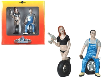 Michele and Derek Tire Brigade 2 piece Figurine Set 1:18, Motorhead Miniatures, Item Number MH768