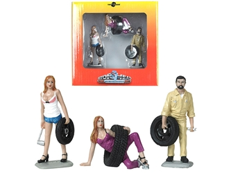 Val, Meg and Gary Tire Brigade 3 piece Figurine Set 1:24 , Motorhead Miniatures, Item Number MH774