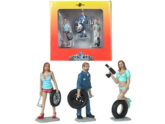 Michelle, Meg and Gary Tire Brigade 3 piece Figurine Set 1:24 , Motorhead Miniatures, Item Number MH775