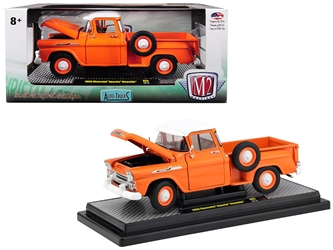 1958 Chevrolet Apache Stepside Pickup Truck Orange with White Top Limited Edition to 5,880 pieces Worldwide 1/24 Diecast Model Car by M2 Machines, M2, Item Number 40300-64A
