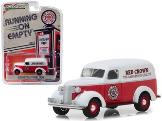 "1939 Chevrolet Panel Truck ""Red Crown Gasoline"" Red with White Top ""Running on Empty"" Series 6 1:64 Diecast Model Car by Greenlight, Greenlight, Item Number GLC41060E"