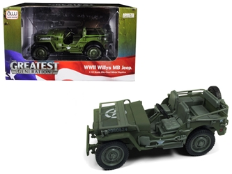 "1941 Willys MB Jeep WWII ""Army"" Olive Green Drab 1:18 Diecast Model Car by Autoworld, Autoworld, Item Number AWML001A"