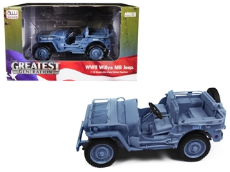 "1941 Willys MB Jeep WWII ""Navy"" Blue Grey 1:18 Diecast Model Car by Autoworld, Autoworld, Item Number AWML001B"