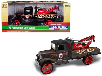 "1931 Hawkeye ""Texaco"" Tow Truck ""Luckys Garage & Towing"" Unrestored 8th in the Series ""U.S.A. Series Utility, Service, Advertising"" 1:34 Diecast Model by Autoworld, Autoworld, Item Number CP7515"