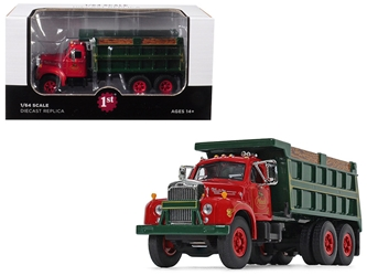 "Mack B-61 Tandem Axle Dump Truck ""Mack Trucks, Inc."" Red Cab and Green Body 1/64 Diecast Model by First Gear, First Gear, Item Number 60-0404"
