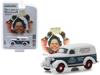 "1939 Chevrolet Panel Truck Blue and White ""Ridgewood Dental Clinic"" Mobile Office ""Norman Rockwell Delivery Vehicles"" Series 1 1/64 Diecast Model Car by Greenlight, Greenlight, Item Number GLC37150A"