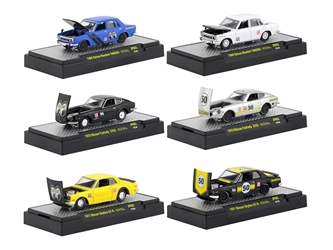 "Auto Thentics ""Mooneyes"" Auto Japan 6 piece Set IN DISPLAY CASES 1/64 Diecast Model Cars by M2 Machines by M2 Item Number 32500-MOON03"