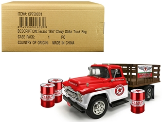 "1957 Chevrolet Stake Bed Truck White/Red with 3 Oil Drums ""Texaco"" ""Aviation Fuels & Lubricants"" Regular Edition 1/25 Diecast Model by Autoworld by Autoworld Item Number CP7505"