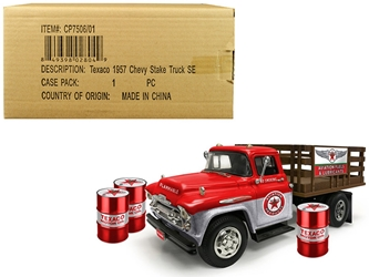 "1957 Chevrolet Stake Bed Truck Red/Metal with 3 Oil Drums ""Texaco"" ""Aviation Fuels & Lubricants"" Brushed Metal Edition 1/25 Diecast Model by Autoworld by Autoworld Item Number CP7506"