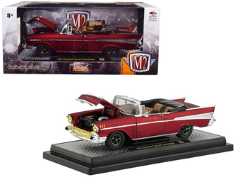 "1957 Chevrolet Bel Air Convertible Satin Red ""Auto-Mods"" Limited Edition to 5,880 pieces Worldwide 1/24 Diecast Model Car by M2 Machines by M2 Item Number 40300-68B"