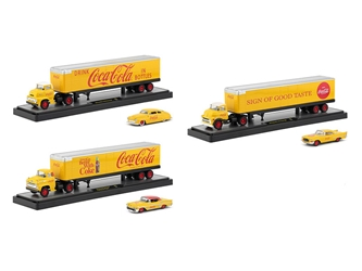 "Auto Haulers ""Coca-Cola"" Release Set of 3 Trucks Yellow 1/64 Diecast Models by M2 Machines by M2 Item Number 56000-YR01"