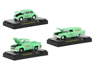 "Coca-Cola Green Set of 3 Cars Limited Edition to 4,800 pieces Worldwide ""Hobby Exclusive"" 1/64 Diecast Model Cars by M2 Machines by M2 Item Number 52500-GG01"