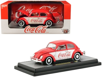 "1952 Volkswagen Beetle Deluxe Model ""Coca-Cola"" Red and White Limited Edition to 9,600 pieces Worldwide 1/24 by M2 Item number 50300-RW04"