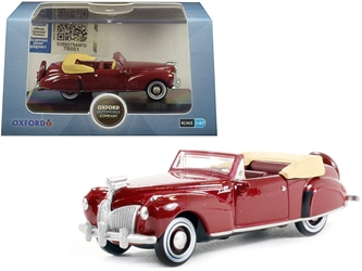 1941 Lincoln Continental Convertible Maroon 1/87 (HO) Scale by Oxford Diecast Item Number: 87LC41001