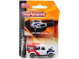 "Land Rover Defender 110 White/Red/Blue ""Above and Beyond"" ""Racing Cars"" 1/60 by Majorette Item Number: 4009MJ1"