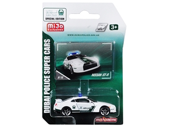 "Nissan GT-R White and Green Special Edition ""Dubai Police Super Cars"" 1/61 Diecast Model Car by Majorette"
