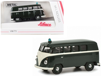 "Volkswagen T1 Police Bus ""Polizei"" Dark Green 1/64 by Schuco"
