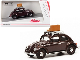 Volkswagen Beetle Kafer with Roof Rack and Luggage Dark Red 1/64 by Schuco