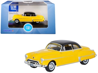 1950 Oldsmobile Rocket 88 Coupe Yellow with Black Top 1/87 (HO) Scaley Oxford Diecast