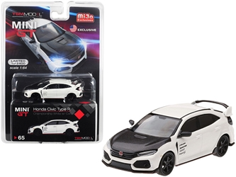 Honda Civic Type R (FK8) Championship White with Carbon Hood and TE37 Wheels Limited Edition to 2,400 pieces Worldwide 1/64
