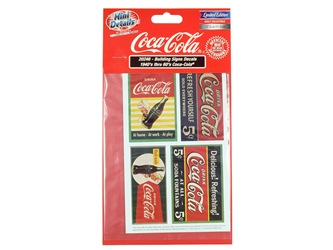 "1940s Thru 1960s ""Coca-Cola"" Building Signs Decals for 1/87 (HO) Scale Models by Classic Metal Works"