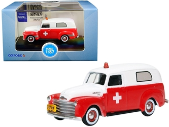 "1950 Chevrolet Panel Van ""Ambulance"" Red and White 1/87 (HO)"