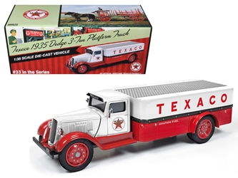 "1935 Dodge 3-Ton Platform Truck ""Texaco"" (2016) Series #33 Red and White 1:38, Auto World Item Number CP7410"