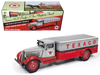 "1935 Dodge 3-Ton Platform Truck ""Texaco"" (2016) Series #33 Special Edition Brushed Metal and Red 1:38, Auto World Item Number CP7411"