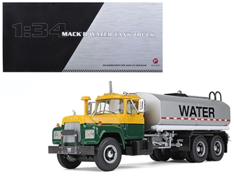 Mack R Water Tank Truck Yellow/Green/Silver 1/34 Diecast Model Car by First Gear, First Gear Item Number 792487