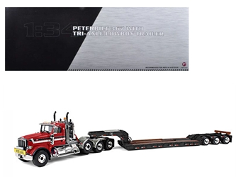Peterbilt 367 with Tri Axle Lowboy Trailer Red and Black 1/34 Diecast Model by First Gear, First Gear Item Number 792852