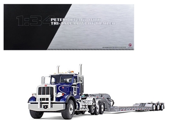 Peterbilt 367 with Tri Axle Lowboy Trailer Blue and Silver 1/34 Diecast Model by First Gear, First Gear Item Number 793217