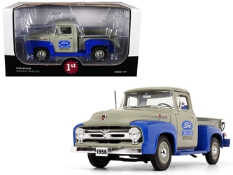 "1956 Ford F-100 Pickup Truck High Feature ""Ford Tractor Equipment Sales"" Gray and Blue 1/25 Diecast Model Car by First Gear, First Gear Item Number 40-0415"