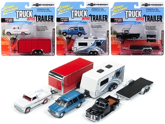 """Truck and Trailer"" Series 2 Set B of 3 Trucks ""Chevrolet Trucks 100th Anniversary"" 1/64 Diecast Model Cars by Johnny Lightning"