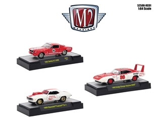 """Coca-Cola"" Set of 3 Cars Limited Edition to 4,800 pieces Worldwide Hobby Exclusive 1/64 Diecast Models by M2 Machines, M2 Item Number 52500-RC01"