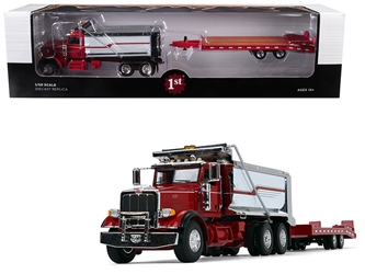 Peterbilt Model 367 Tandem Axle Dump Truck with Beavertail Trailer Red/ Chrome/ White 1/50 Diecast Model by First Gear, First Gear Item Number 50-3404