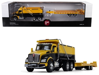 Kenworth T880 Tandem Axle Dump Truck with Beavertail Trailer Yellow/ Black 1/50 Diecast Model by First Gear, First Gear Item Number 50-3406